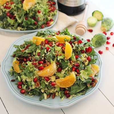 Brussels Sprout Winter Salad with Lemon Champagne Vinaigrette
