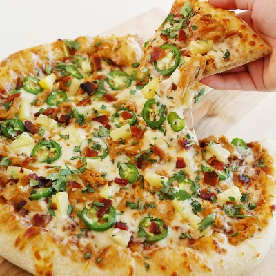 Pulled Pork Jalapeño Pineapple Pizza with Bacon and Cilantro