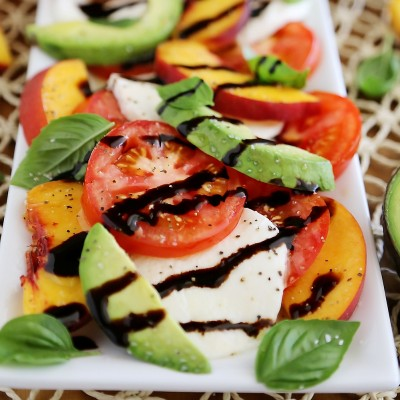 Peach and Avocado Caprese Salad