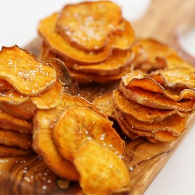 Baked Salt + Vinegar Sweet Potato Chips