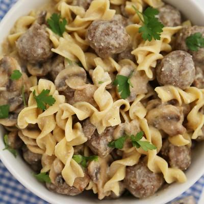 Creamy Mushroom Meatball Stroganoff