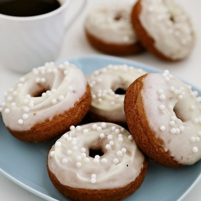 Soft Pumpkin Donuts with Cream Cheese Glaze