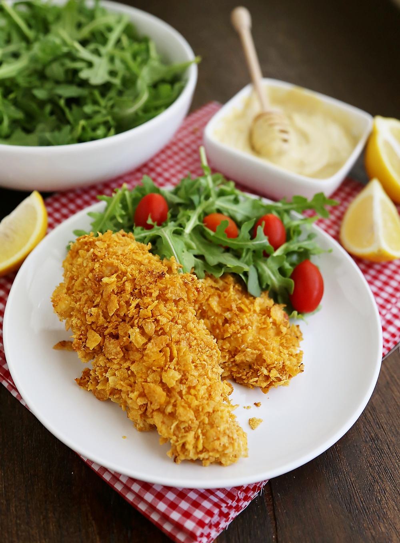Crispy Honey-Dijon Baked Chicken Tenders - Cornflake crusted chicken ...