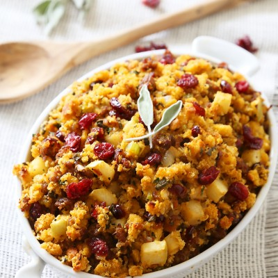 Sausage, Apple and Cranberry Cornbread Stuffing