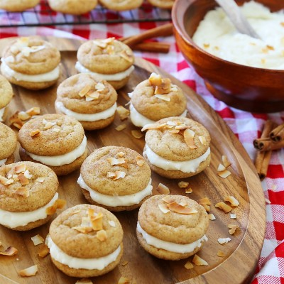 Snickerdoodle Sandwich Cookies with Coconut Cream Cheese Frosting Filling
