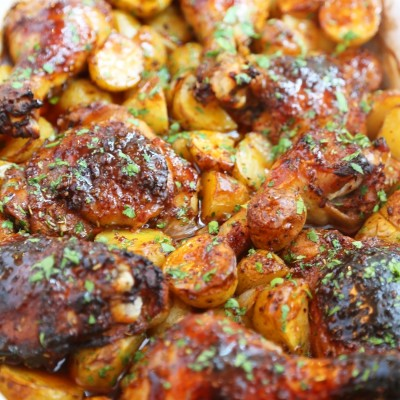 Roasted Apple Cider Chicken with Potatoes and Onions