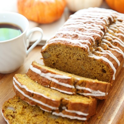 Pumpkin Banana Bread with Vanilla Glaze