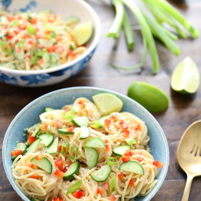 Cold Sesame Cucumber Noodle Salad